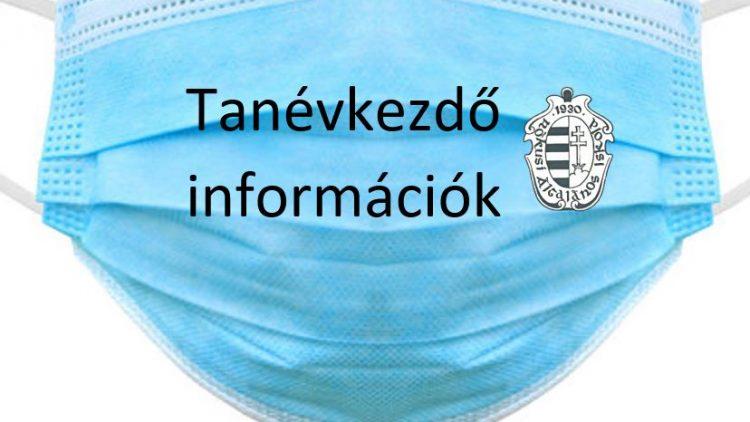 Frissítve!!! Tanévkezdő információk 2-8. évfolyamosoknak